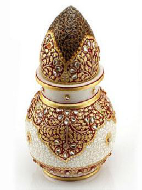 Marble Gold Embossed Kalash With Nariyal