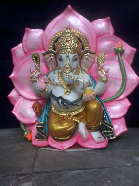 White Marble Lotus Base Ganesha Statue