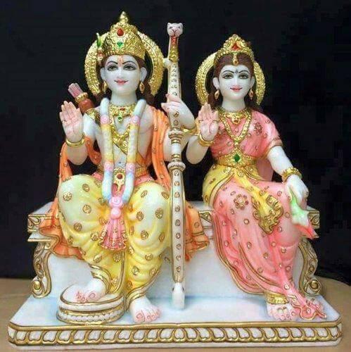 White Marble Ram Sita Statue