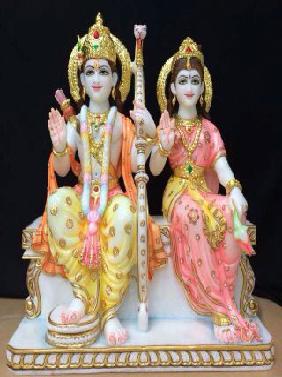 White Marble Shri Ram Janki Statue