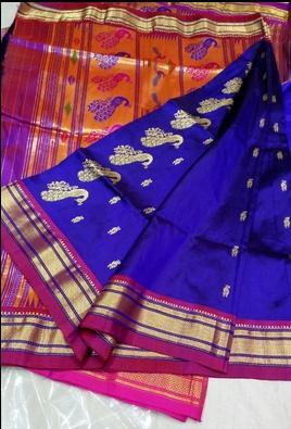 Light Blue Silk Paithani Sarees