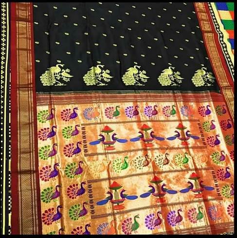 Black Silk Paithani Sarees