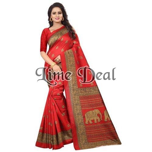Red Cotton Silk Saree