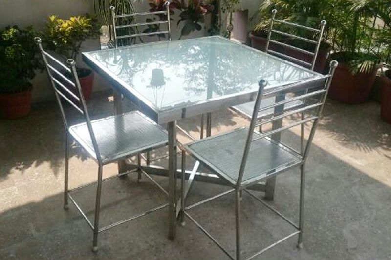 Stainless Steel Dining Table Set
