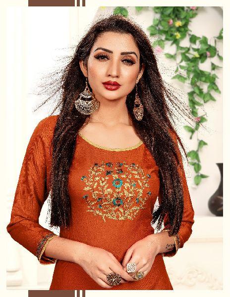 Alisha Fashion Kanika Rayon Embroidered Stitched Kurtis