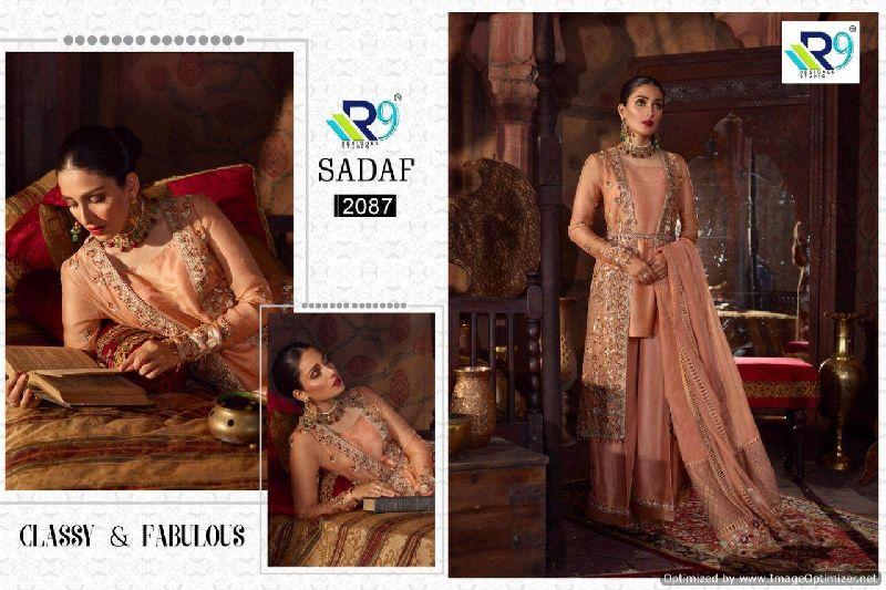 R9 Designer Brand Sadaf Pakistani Style Embroidered Suits
