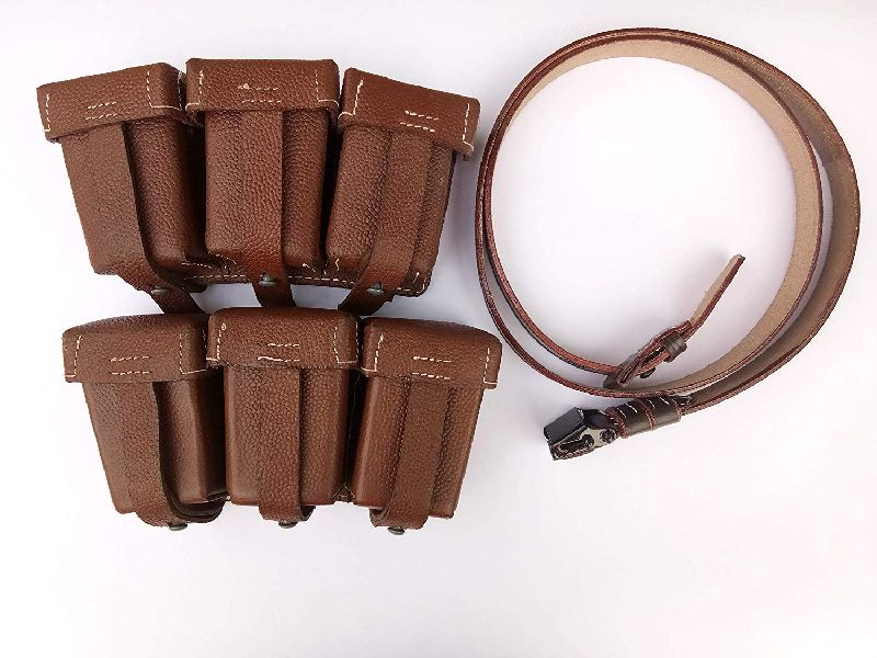 Brown Triple Ammo Leather Pouch