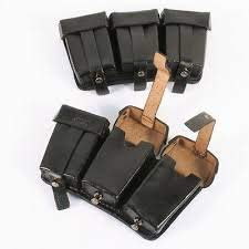 Black Triple Ammo Leather Pouch