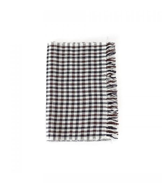 Chocolate Brown and White Lambswool Scarves