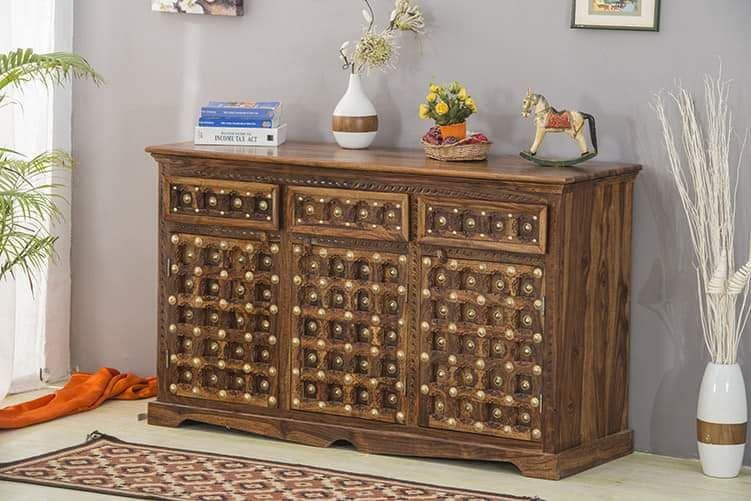 Brass and Sheesham Wood Sideboard
