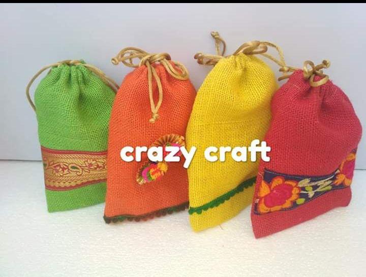 Multicolor Jute Potli Bags