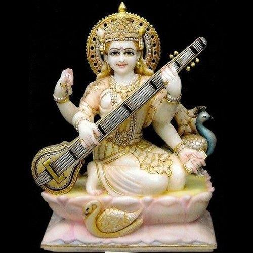 Multicolor Marble Saraswati Mata Statue