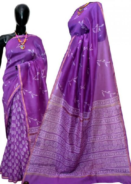 Discharge Printed Chanderi Silk Sarees