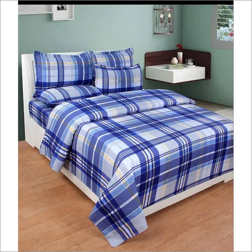 3D Poly Cotton Checkered Double Bedsheet