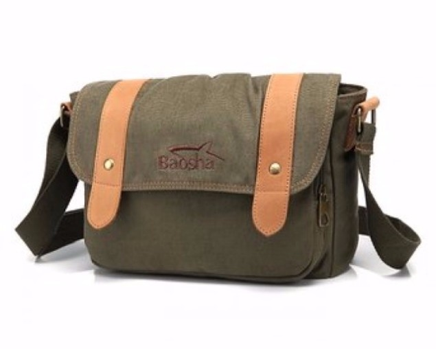 DUF-106 Leather Canvas Messenger Bag