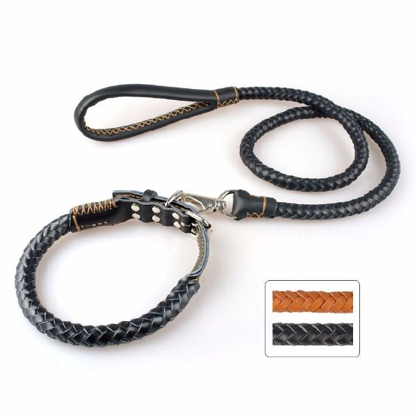 NC-LES-102 Rope Dog Leash with Leather Handle