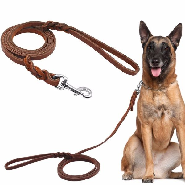 NC-LES-103 Rope Dog Leash with Leather Handle