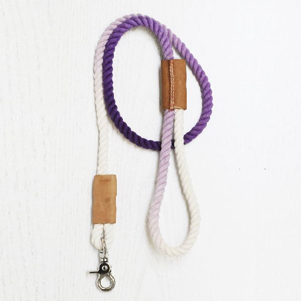 NC-LES-109 Rope Dog Leash with Leather Handle