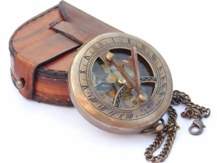 Brass Sundial Compass with Leather Case and Chain - Push Open Compass - Steampunk Accessory - Antiqu