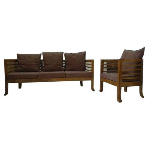 4 Seater Cushion Back Wooden Sofa Set