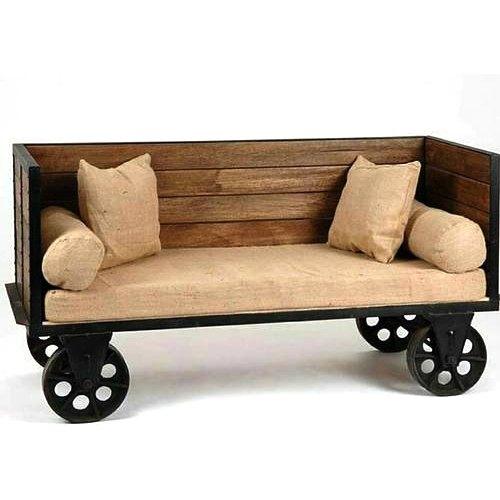 Iron Wheel Wooden Sofa Set