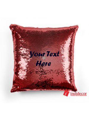 Sequin Mermaid 2 Layer Red Magical Cushion