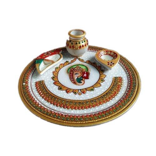 Decorative Marble Pooja Thali
