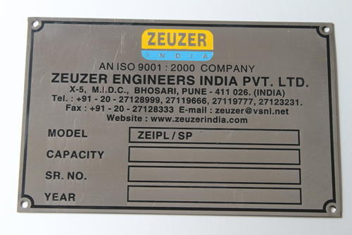 Stainless Steel Etched Nameplate