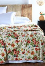 Floral Print Kantha Bed Cover
