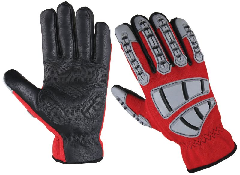 Leather Impact Gloves/ Gloves for Oilfield, Cut Resistant Gloves/ Impact Gloves, Leather Safety Gloves