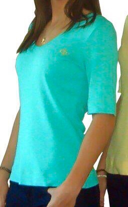 Ladies Turquoise Green Cotton T-Shirts