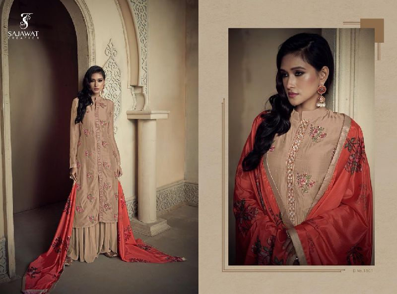 Amyra Embroidered Silk Palazzo Suits
