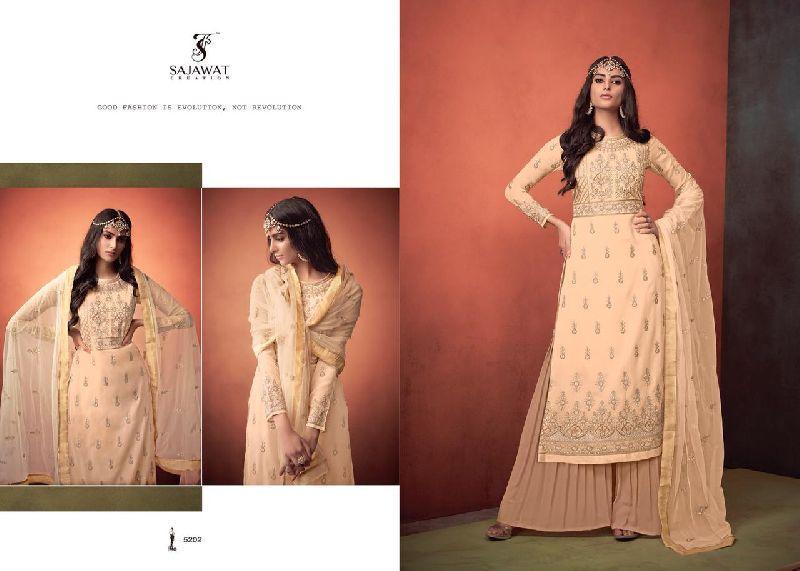 Khwaish Embroidered Silk Palazzo Suits