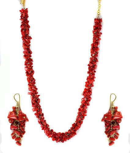 Red Stone Uncut Chip Necklace Set
