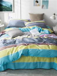 Contrast Striped Print Bed Sheets