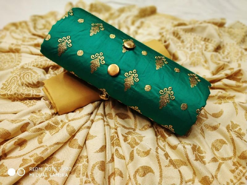 Sea Green Embroidered Dress Material