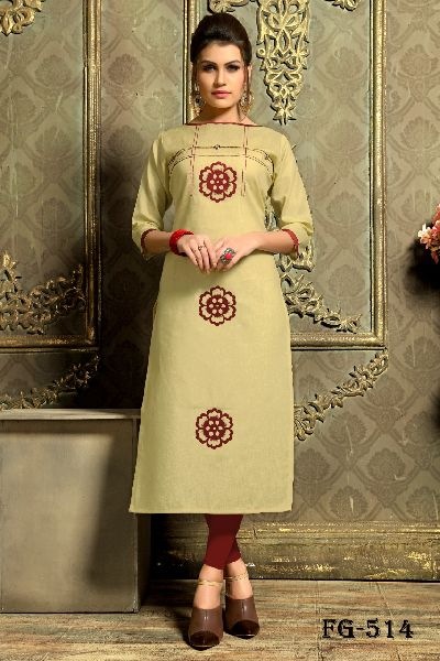 Cream Khadi Cotton Kurti