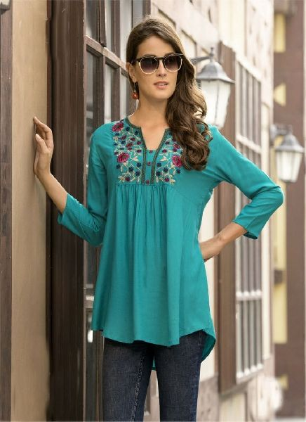 Green Rayon Top