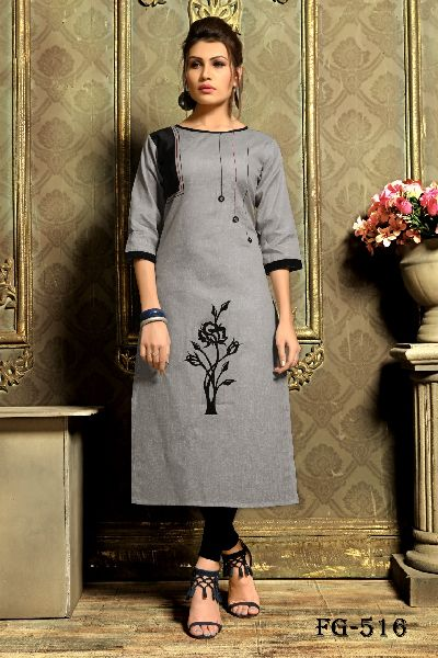 Grey Khadi Cotton Kurti