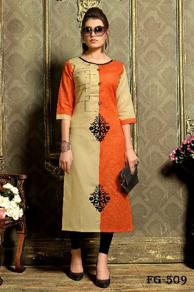 Orange Khadi Cotton Kurti