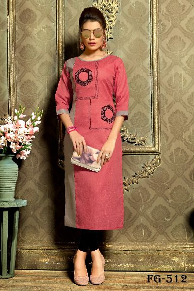Peach Khadi Cotton Kurti