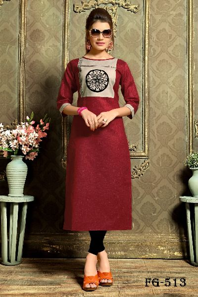 Red Khadi Cotton Kurti