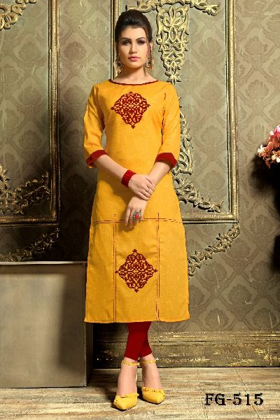Yellow Khadi Cotton Kurti