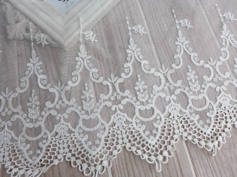 Cotton Embroidered White Lace