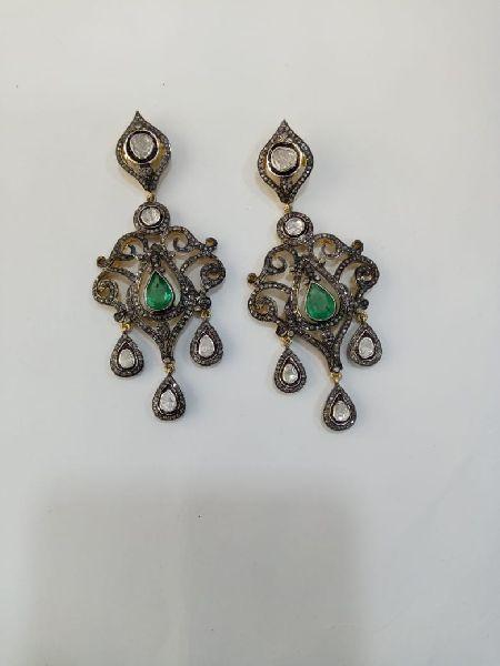 Hanging Silver Stone Earrings