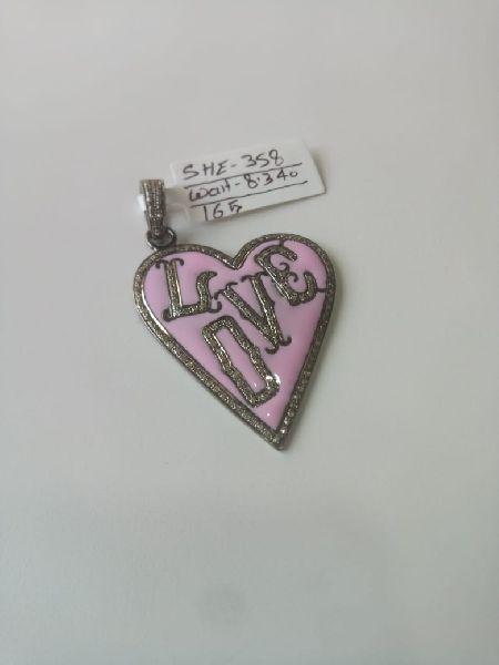 Heart Shaped Silver Stone Pendant