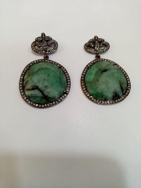 Oval Shaped Silver Stone Earrings