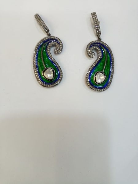 Peacock Shaped Silver Stone Earrings