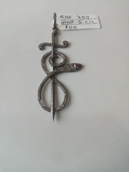 Snake Shaped Silver Stone Pendant