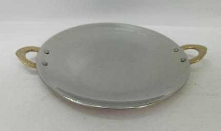 Copper Steel Hammered Round Tawa  01